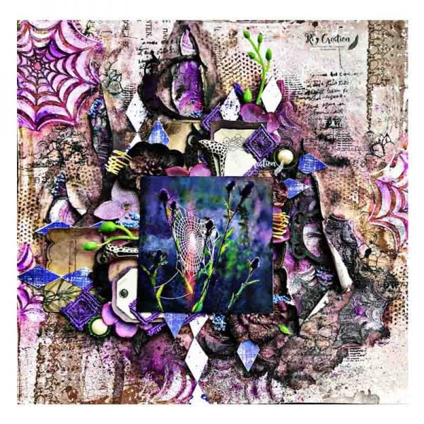 Purple mixed media layout